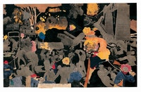 Henry Darger (1892–1973), <em>After M Whurther Run Glandelinians attack and blow up train carrying children to refuge.</em> (double-sided), Chicago, Illinois, c. 1950, watercolor, pencil, carbon tracing, and collage on pieced paper, 23 x 36 3/4 in., American Folk Art Museum, New York, gift of Sam and Betsey Farber, 2003.8.1B. Photo by Gavin Ashworth, American Folk Art Museum, © Kiyoko Lerner.