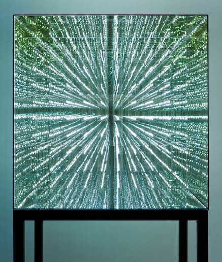 Antony Gormley (b. 1950), <em>Infinite Cube</em>, 2014, mirrored glass with internal copper wire matrix of 1,000 hand-soldered omnidirectional LED lights, 36 x 36 x 36 in., Smart Museum of Art, The University of Chicago, gift of Antony Gormley and W. J. T. Mitchell, 2014.63.