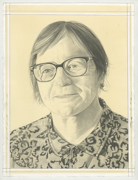 Portrait of Dona Nelson, pencil on paper by Phong Bui.