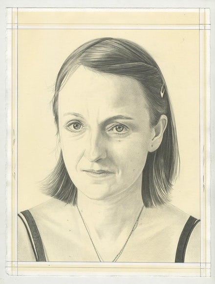 Portrait of Sue de Beer, pencil on paper by Phong Bui.