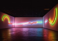 "Stephen Antonakos, <em>Proscenium</em>, 2000. Neon and painted raceways, 20' 6"" x 189'. Collection Friends of the Neuberger Museum of Art, Purchase College, State University of New York. Photo: Jim Frank"