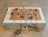 Shadi Habib Allah, <em>Did you see me this time, with your own eyes? </em>(detail), 2018. Raspberry Pi computers, Z-Line phones and chargers, microcontrollers, video with sound. Dimensions variable. Courtesy the artist, Green Art Gallery, Dubai and Rodeo, London. Photo: Kyle Knodell.