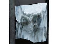 Antonia Kuo, <em>Untitled</em>, 2018. Slumped glass, urethane resin, steel, 20 x 16 x 3 inches. Courtesy Rubber Factory.