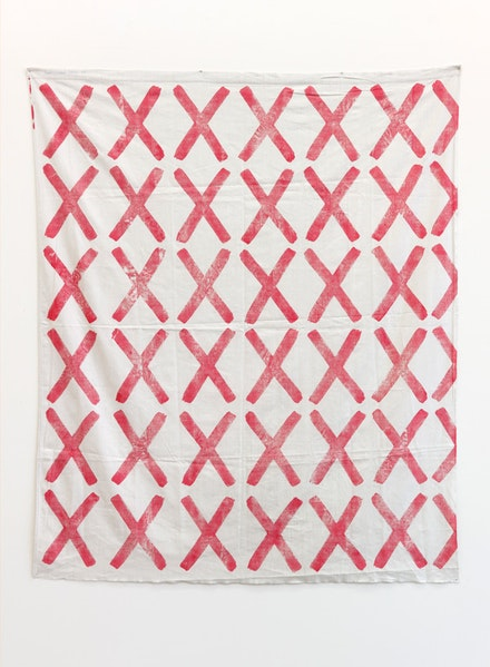 Louis Cane, <em>Croix</em>, 1966, Ink on fabric, 169 x 139 cm. Courtesy Emmanuel Barbault Gallery and Ceysson & Bénétière.