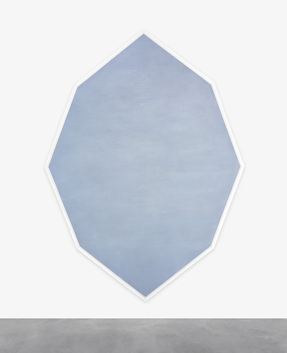 Mary Corse, <em>Untitled (Octagonal Blue)</em>, 1964. Metal flakes in acrylic on canvas, 93 x 67 1/2 inches. Courtesy Kayne Griffin Corcoran, Los Angeles, Lehmann Maupin, New York; and Lisson Gallery, London. Photo © Mary Corse.