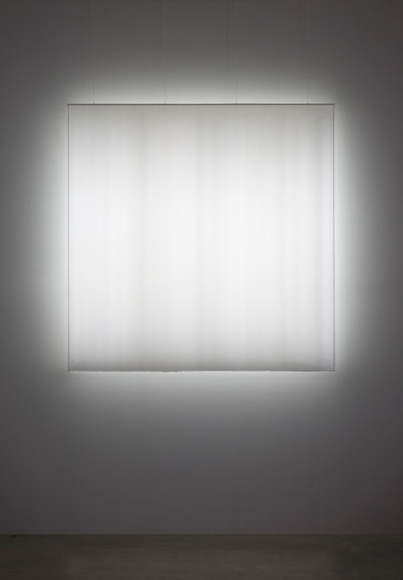 Mary Corse, <em>Untitled (Space + Electric Light)</em>, 1968. Argon light, plexiglass, and high-frequency generator, 45 1/4 x 45 1/4 x 4 3/4 inches. Museum of Contemporary Art San Diego; museum purchase with funds from the Annenberg Foundation. Photo: Philipp Scholz Rittermann.