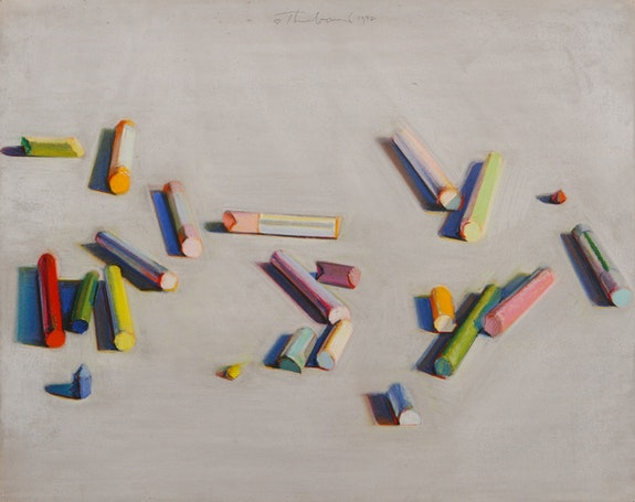Wayne Thiebaud, <em>Pastel Scatter</em>, 1972. Pastel. Thiebaud Family Collection. &copy; Wayne Thiebaud/Licensed by VAGA, New York, NY.