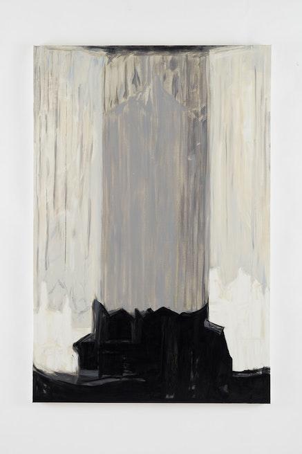 Martha Diamond, <em>Grisaille Cityscape No. 2</em> (2007) Oil on linen.  72 x 48 inches. Courtesy of Galerie Eva Presenhuber.