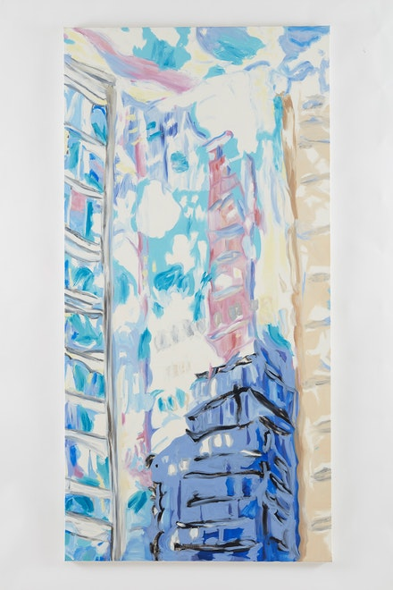 Martha Diamond, <em>New York with Purple No. 1</em> (2000) 96 1/8 x 48 inches. Courtesy of Galerie Eva Presenhuber.