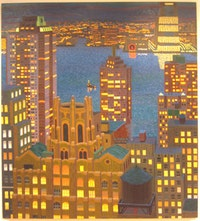 "Yvonne Jacquette, ""Lower Manhattan and New Jersey with Water Towers,"" 2005. Courtesy of DC Moore."
