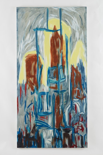 Martha Diamond, <em>Cityscape/Yellow Light</em> (1994) Oil on linen. 96 1/8 x 48 inches. Courtesy of Galerie Eva Presenhuber.