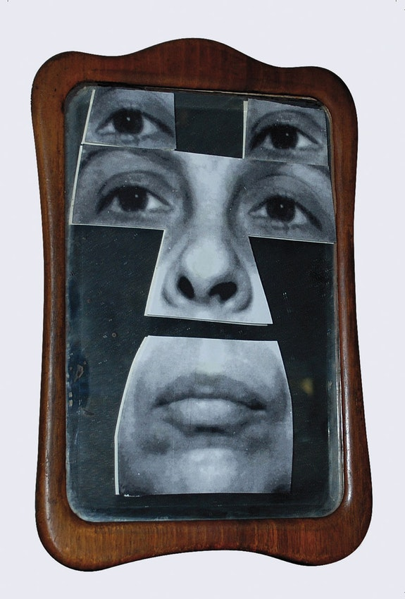 Geta Brătescu, <em>Autoportret în oglindă [Self-Portrait in the Mirror]</em>, 2001. Mirror, wood, gelatin silver prints, 8 1/4 x 5 7/8 inches. © Geta Brătescu, Courtesy the artist; Ivan Gallery, Bucharest; Hauser & Wirth. Photo: Ștefan Sava.