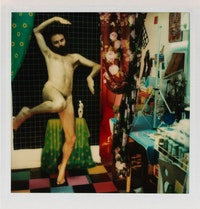 Lucas Samaras, <em>Photo-Transformation 8/12/76</em>. Instant dye diffusion transfer print (Polaroid SX-70, manipulated) 3 1⁄8 x 3 1⁄16 inches. Courtesy Craig F. Starr Gallery.