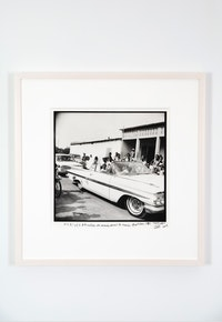 Malick Sidibé, <em>Arrivée de la voiture des mariés devant lamairie 15 Octobre 1970</em>, 1970-2008. Gelatin silver print, 13 1/8 x 13 3/8 inches, signed, titled, and dated on front. Courtesy Jack Shainman Gallery.