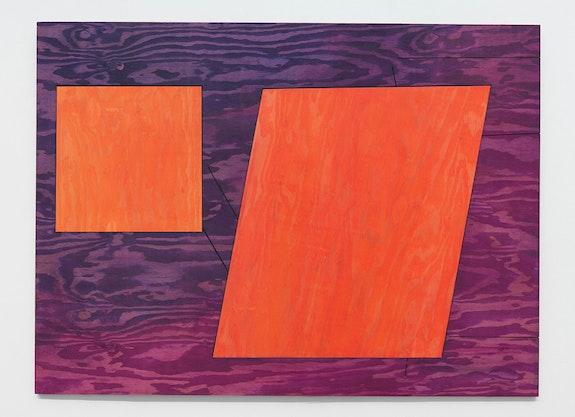 Sarah Braman, <em>TV</em>, 2016. Fabric dye and polyurethane on plywood, 48 x 65.5 inches. Courtesy TURN Gallery.