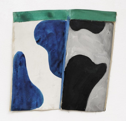 Claude Viallat, <em>1978/045</em>, 1978. Acrylic on trouser bottom, 21 x 21.5 inches. Courtesy TURN Gallery and Ceysson & Bénétière.