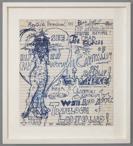 <p>Jack Smith. <em>Travelogue of Lobsterland! (Formerly known as Clamercials of Clapitalism)</em>, c. 1968, Ink and felt-tip pen on paper, 9 1/8 x 8 inches. Courtesy of Artists Space, New York and Gladstone Gallery, New York and Brussels</p>
