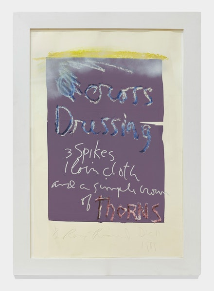 <p>Rene Ricard, <em>Cross Dressing (purple)</em>, 1989. Oil stick, acrylic, over silkscreen ground on paper. 46 x 33 inches. Courtesy the artist and Almine Rech Gallery.</p>