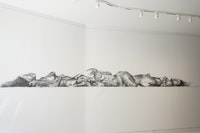 Phoebe Boswell, <em>Take Me To The Lighthouse</em>, 2018. Charcoal on wall; site-specific installation executed by the artist, 214.5 inches x 19 inches. Courtesy Sapar Contemporary and the artist.