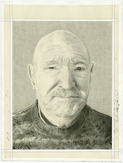 Portrait of Malcolm Morley, pencil on paper by Phong Bui.