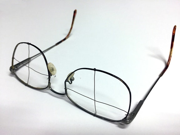 Gridded eyeglasses assembled by Malcolm Morley. Image courtesy the author.