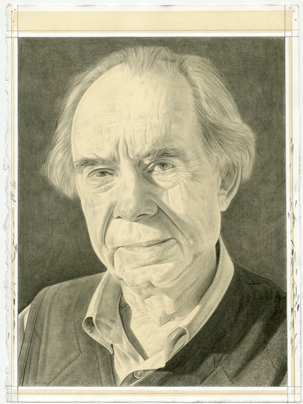 Portrait of Irving Sandler, pencil on paper by Phong Bui.