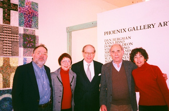 The original ArtistsTalkOnArt board of directors (left to right): Bruce Barton, Lori Antonacci, Douglas I. Sheer, Irving Sandler, and Corinne Robins. Missing are Cynthia Navaretta, and the late Bob Weigand. © ArtistsTalkOnArt, Inc.