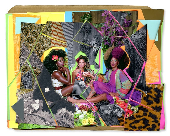 Mickalene Thomas, <em>Le Dejeuner sur l'herbe: les Trois Femmes Noir #5</em>, 2017. Mixed media collage. Courtesy the artist and Yancey Richardson.