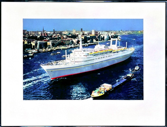 Malcolm Morley, <em>SS Amsterdam in front of Rotterdam</em>, 1966. Liquitex on canvas, 63 1/2 by 83 1/2 inches.  Private collection. Courtesy the estate of Malcolm Morley and Sperone Westwater, New York.