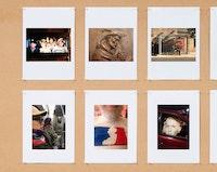 <em>Social Photography VI</em>, Carriage Trade, 2018. Installation View (Detail). Left to right, top row: James Barondess, John Oakes, Dennis Adams; bottom row: Satoru Eguchi, Dan Graham, Olivia Gilmore.