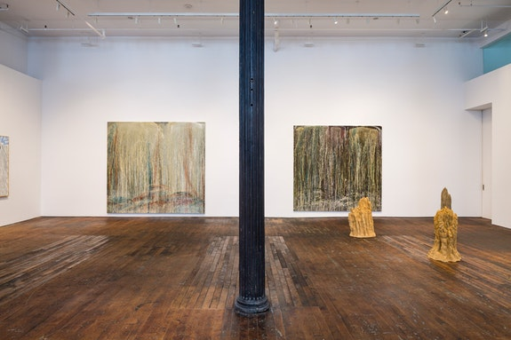 <em>Summer: Curated by Ugo Rondinone</em>, Peter Freeman, Inc., 2018. Installation view with works by Pat Steir and David Adamo. Courtesy Peter Freeman, Inc. Photo: Nicholas Knight.