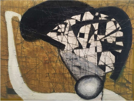 Brenda Goodman, <em>The Thinker</em>, 2017. Oil on paper, 6 x 8 inches. © Brenda Goodman. Courtesy Cross Contemporary.