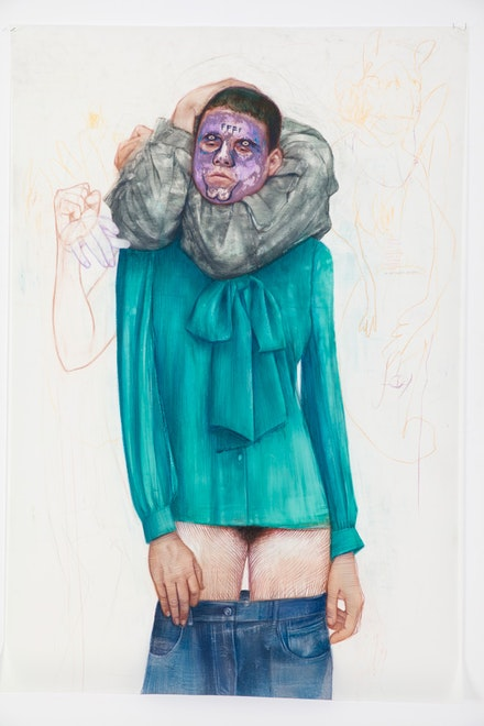 Geoffrey Chadsey, <em>Emerald Choke</em>, 2018. Watercolor, pencil, and crayon on mylar, 61 5/8 x 42 inches. Courtesy Jack Shainman Gallery.