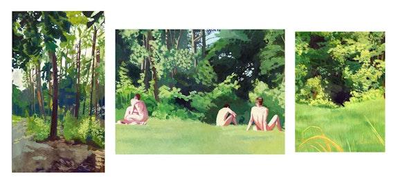 Sholem Krishtalka, <em>Forest</em>, 2018. Gouache on Paper, Triptych, overall 15 1/8 x 33 inches. Courtesy Yossi Milo.