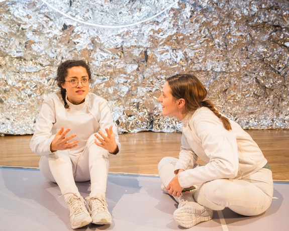 <em>Athena</em>, by Gracie Gardner, directed by Emma Miller. Pictured, L to R: Abby Awe and Julia Greer.Photo by Mike Edmonds.