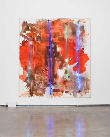 Mary Weatherford, <em>Blue Cut Fire</em>, 2017. Flashe and neon on linen, 117 x 104 x 5 inches. Photo: Fredrik Nilsen. Courtesy David Kordansky Gallery, Los Angeles, CA.