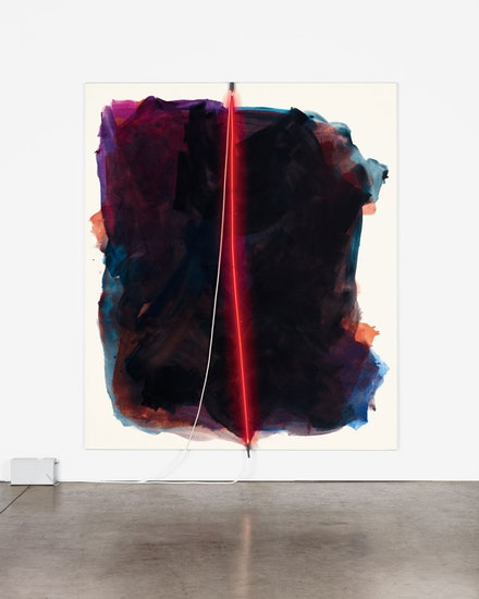 Mary Weatherford, <em>Ruby I (Thriftimart)</em>, 2012. Flashe and neon on linen, 93 x 79 inches. Photo: Robert Wedemeyer. Courtesy David Kordansky Gallery, Los Angeles, CA.