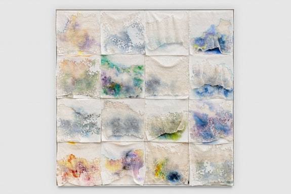 Liza Lou, <em>Pyrocumulus</em> (detail), 2018. Oil paint on woven glass beads on canvas, 55 3/4 x 56 1/4 x 3 inches. Photo: Joshua White. Courtesy the artist and Lehmann Maupin, New York and Hong Kong.