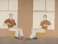 <p>Alex Katz, <em>Double Portrait of Robert Rauschenberg</em>, 1959. Oil on canvas, 66 x 85 1/2 inches. Colby College Museum of Art. © Alex Katz/Licensed by VAGA, New York, NY</p>