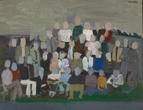 Alex Katz, <em>Group Portrait 2</em>, c. 1950, Oil on Masonite, 30 x 36 inches. Colby College Museum of Art, Promised gift of the artist. © Alex Katz/Licensed by VAGA, New York, NY.