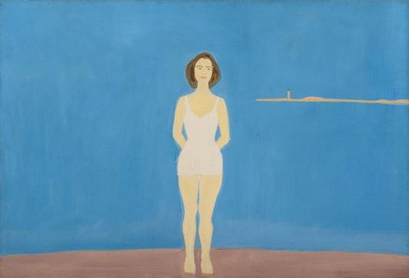 Alex Katz, <em>Bather</em>, 1959. Oil on linen, 48 x 72 inches. Colby College Museum of Art. © Alex Katz/Licensed by VAGA, New York, NY.
