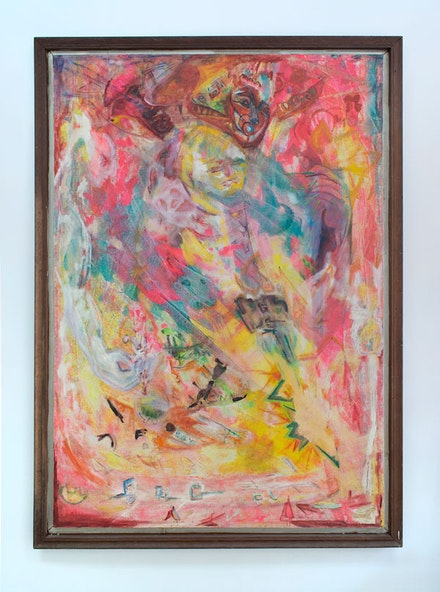 <p>Richanda Rhoden, <em>Untitled (Figures in Pink)</em>, c. 1985. Oil on canvas in wood artist's frame. 72 x 50 inches. Courtesy Soloway Gallery.</p>