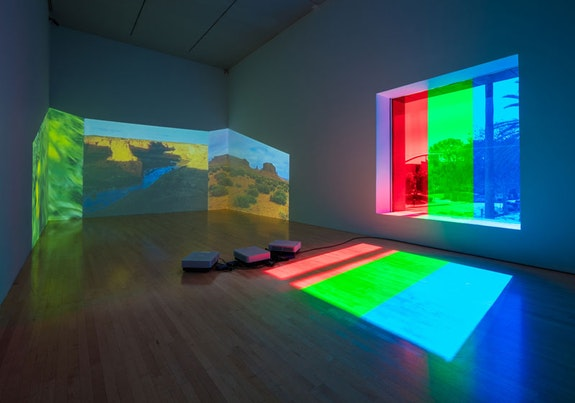 Diana Thater, <i>Abyss of Light</i>, 1993, installed in Diana Thater: The Sympathetic Imagination, Los Angeles County Museum of Art, Los Angeles, 2015–2016. Photo: Fredrik Nilsen. © Diana Thater. Courtesy the artist, Los Angeles County Museum of Art, and David Zwirner.