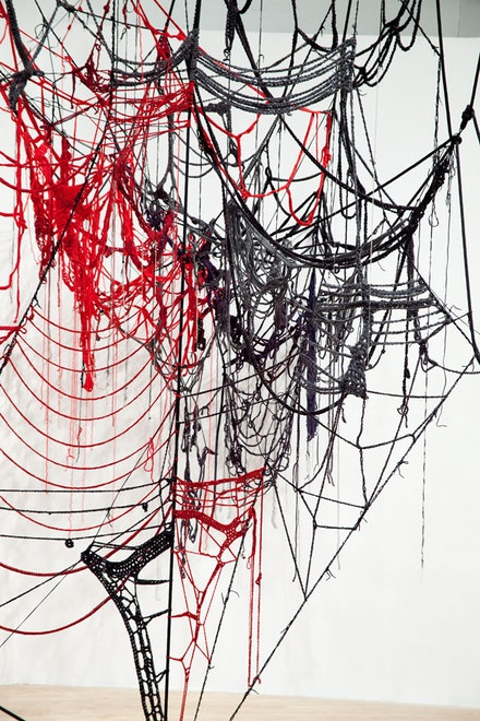Sheila Pepe, <em>Common Sense II</em>, 2010. Crocheted baby and worsted weight yarns, rope, and community participation. Installation view, <em>Hand + Made: The Performative Impulse in Art &amp; Craft</em>, Contemporary Art Museum Houston, Texas.