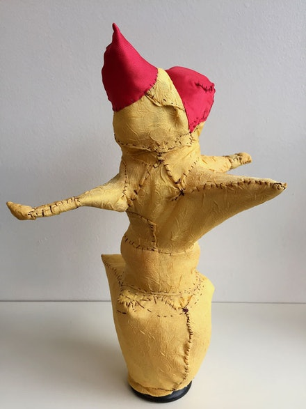 Sheila Pepe, <em>Oversewn Object with Different Things Underneath</em>, 2015. Fabric over accumulated object armature. Collection of the artist.