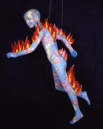 <p>David Wojnarowicz, <em>Untitled (Burning Boy)</em>, 1984. Collaged maps and acrylic on mannequin, 51 x 22 x 26 inches. Courtesy the Estate of David Wojnarowicz and P.P.O.W, New York.</p>