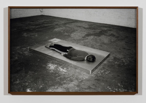 Patrick Staff, <em>Kaya Facedown</em>, 2018. Digital C print, framed, 20.5 x 30.5 x 1.5 inches. Courtesy the artist and Commonwealth and Council. Photo: Ruben Diaz.