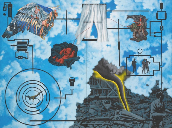 <p>David Wojnarowicz, <em>Wind (For Peter Hujar)</em>, 1987. Acrylic and collaged paper on composition board, two panels, 72 x 96 inches. Collection of the Second Ward Foundation. Image courtesy the Estate of David Wojnarowicz and P.P.O.W, New York.</p>