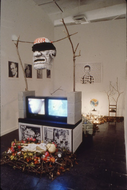 David Wojnarowicz, America: Heads of Family, Heads of State, 1990. Installation view in The Decades Show: Frameworks of Identity in the 1980s, The New Museum of Contemporary Art, 1990. Dimensions variable. Courtesy the Estate of David Wojnarowicz and P.P.O.W, New York.