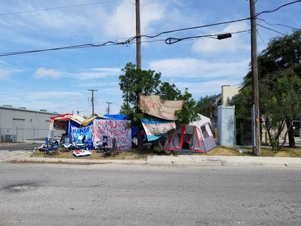 <i>Abolish ICE camp, San Antonio. Photo by the author.</i>